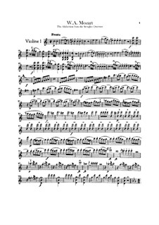 Overture: Violins parts by Wolfgang Amadeus Mozart