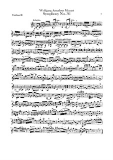 Symphony No.36 in C Major, K.425: Violin II parts by Wolfgang Amadeus Mozart