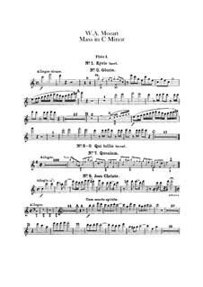 Grand Mass in C Minor, K.427, K.417a: Flutes parts by Wolfgang Amadeus Mozart