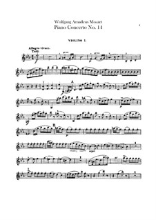 Concerto for Piano and Orchestra No.14 in E Flat Major, K.449: Violin I part by Wolfgang Amadeus Mozart