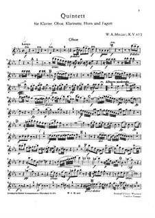 Quintet for Winds and Piano in E Flat Major, K.452: Parts by Wolfgang Amadeus Mozart
