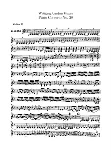 Concerto for Piano and Orchestra No.20 in D Minor, K.466: Violin II part by Wolfgang Amadeus Mozart