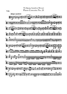 Concerto for Piano and Orchestra No.21 in C Major, K.467: Viola part by Wolfgang Amadeus Mozart