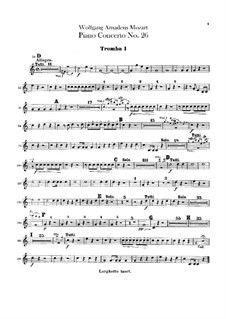 Concerto for Piano and Orchestra No.26 in D Major 'Coronation', K.537: Trumpets parts by Wolfgang Amadeus Mozart