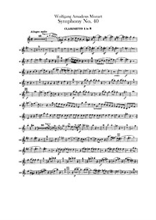 Complete Movements: Clarinets parts by Wolfgang Amadeus Mozart