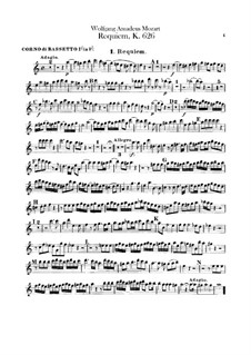 Complete Movements: French horns parts by Wolfgang Amadeus Mozart