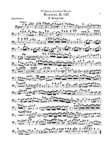 Complete Movements: Bassoons parts by Wolfgang Amadeus Mozart