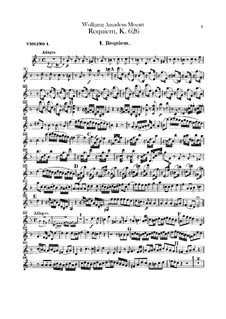 Complete Movements: Violin I part by Wolfgang Amadeus Mozart