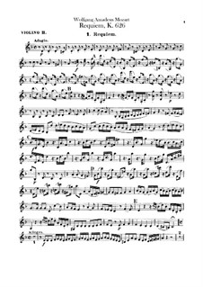 Complete Movements: Violin II part by Wolfgang Amadeus Mozart
