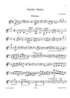Little Waltz for Violin and Piano: Solo part by Alexander Taneyev
