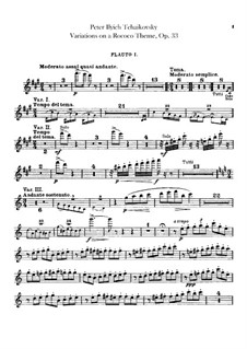 Variations on a Rococo Theme, TH 57 Op.33: Flutes parts by Pyotr Tchaikovsky