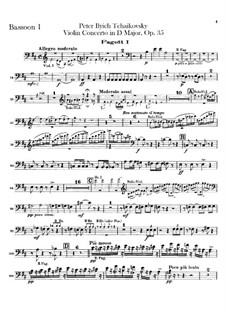 Concerto for Violin and Orchestra in D Major, TH 59 Op.35: Bassoons parts by Pyotr Tchaikovsky