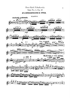Suite No.1 in D Minor, TH 31 Op.43: Flutes parts by Pyotr Tchaikovsky