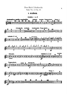 Suite No.3 in G Major, TH 33 Op.55: Trumpets parts by Pyotr Tchaikovsky