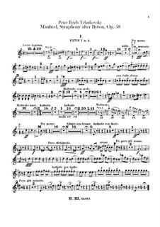 Manfred Symphony, TH 28 Op.58: Cornets parts by Pyotr Tchaikovsky