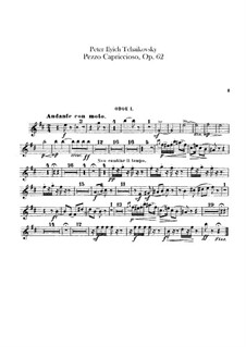 Pezzo Capriccioso for Cello and Orchesrta, TH 62 Op.62: Oboes parts by Pyotr Tchaikovsky