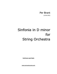 Sinfonia in D Minor for Strings and Basso Continuo: Full score, Parts by Per Brant