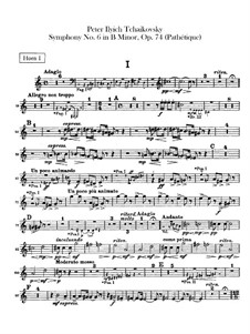 Complete Movements: Horns parts by Pyotr Tchaikovsky