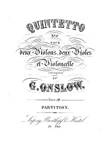 String Quintet No.6 in E Minor, Op.19: Full score by Georges Onslow