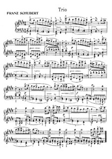 Trio in E Major, D.610: For piano by Franz Schubert