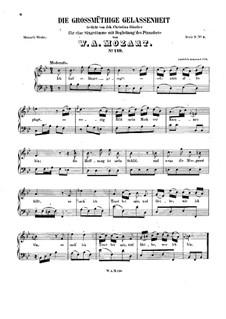 Die grossmütige Gelassenheit, K.149: B flat Major by Wolfgang Amadeus Mozart