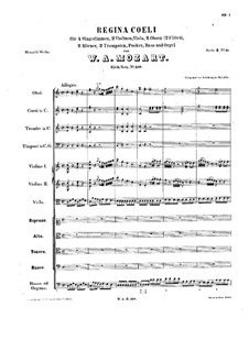Regina Coeli, K.108: Full score by Wolfgang Amadeus Mozart