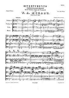 Divertissement in B Flat Major, K.137: Divertissement in B Flat Major by Wolfgang Amadeus Mozart