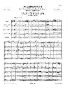Divertissement in B Flat Major, K.186: Score by Wolfgang Amadeus Mozart