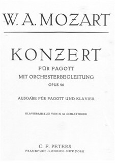 Concerto for Bassoon and Orchestra in B Flat Major, K.191: Solo part by Wolfgang Amadeus Mozart