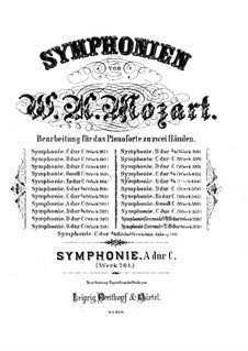 Symphony No.29 in A Major, K.201: Arrangement for piano by Wolfgang Amadeus Mozart