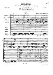 Mass No.12 in C Major (Missa brevis No.8) 'Organ Solo', K.259: Full score by Wolfgang Amadeus Mozart
