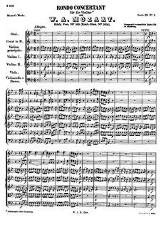 Rondo for Violin and Orchestra in B Flat Major, K.269: Full score by Wolfgang Amadeus Mozart