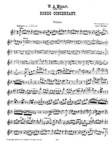 Rondo for Violin and Orchestra in B Flat Major, K.269: Version for violin and piano – violin part by Wolfgang Amadeus Mozart