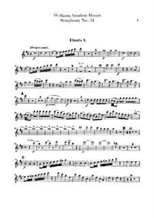 Symphony No.31 in D Major 'Paris', K.297: Flutes parts by Wolfgang Amadeus Mozart