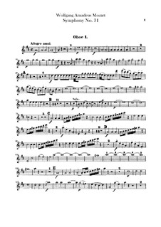 Symphony No.31 in D Major 'Paris', K.297: Oboes parts by Wolfgang Amadeus Mozart