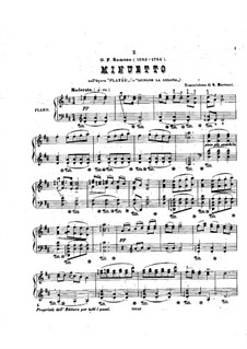 Platée, RCT 53: Minuet, for piano by Jean-Philippe Rameau