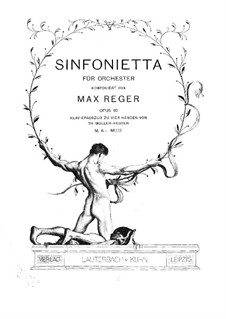 Sinfonietta in A Major for Orchestra, Op.90: For piano four hands by Max Reger