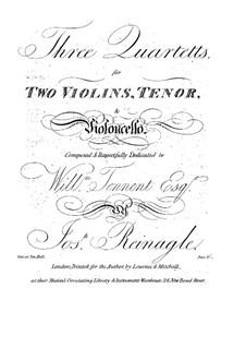 Three String Quartets: Parts by Joseph Reinagle