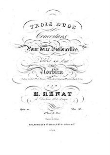 Three Concert Duos for Two Cellos, Op.10: Cello I part by H. Renat