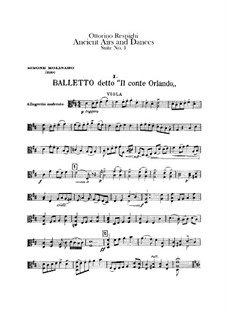Antiche danze et arie per liuto. Suite No.1: Viola part by Ottorino Respighi