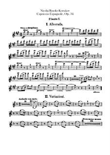 Capriccio Espagnol, Op.34: Flutes I, II parts by Nikolai Rimsky-Korsakov