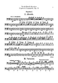 Capriccio Espagnol, Op.34: Bassoons parts by Nikolai Rimsky-Korsakov