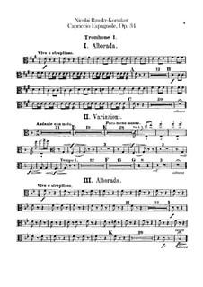 Capriccio Espagnol, Op.34: Trombones and tuba parts by Nikolai Rimsky-Korsakov