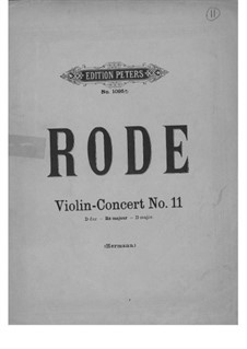 Violin Concerto No.11 in D Major, Op.23: For violin and piano – solo part by Pierre Rode