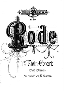 Violin Concerto No.1 in D Minor, Op.3: For violin and piano by Pierre Rode