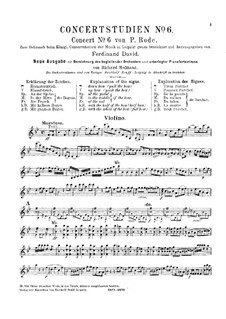 Violin Concerto No.6 in B Flat Major, Op.8: For violin and piano – solo part by Pierre Rode
