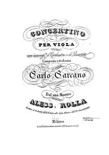 Concertino for Viola and Orchestra, BI 328: Parts by Alessandro Rolla