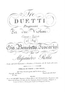 Three Duos for Two Violins, BI 182, 120, 214 Op.10: Parts by Alessandro Rolla