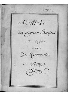 Motets for Voice, Two Violins and Basso Continuo: Volume I by Giovanni Battista Bassani
