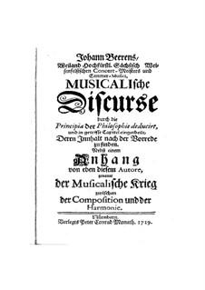 Musikalische Diskurse: Musikalische Diskurse by Johann Beer